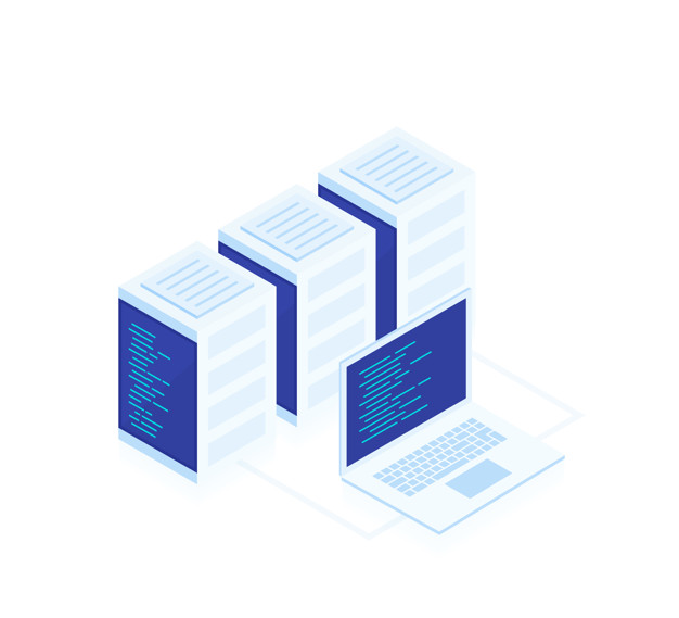 Concept of web hosting .Vector isometric map with business networking servers and laptop.Cloud storage data and synchronization of devices. Modern vector ilustration